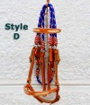 Tan leather blue nylon trail bridle.
