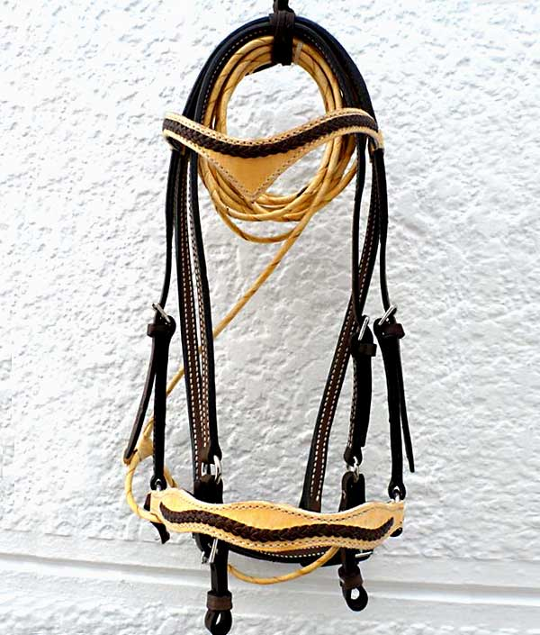 Beautiful Natural and Chocolate Leather Handmade Bridle