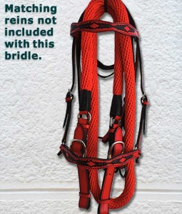 Red show or trail bridle with black trim.