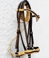 Side Natural and Chocolate Leather Handmade Bridle