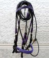 Custom black and purple show bridle.