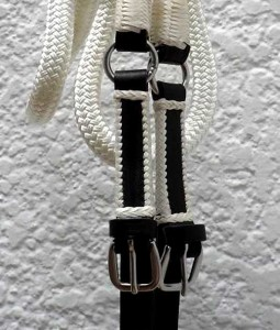 Custom rope reins with leather belting.