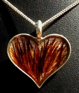 Sterling Silver Horse Hair Jewelry in a heart shape.