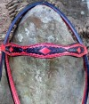 headband custom red and black bridle