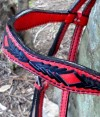 browband custom red and black bridle
