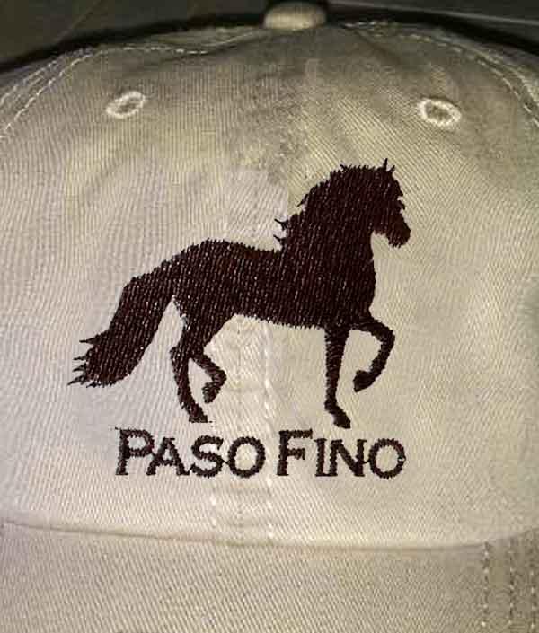 Paso Fino Custom Embroidery, Back of Cap Lettering, Style PASOFINOCAP4CUST