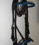 black and blue custom designer bridle