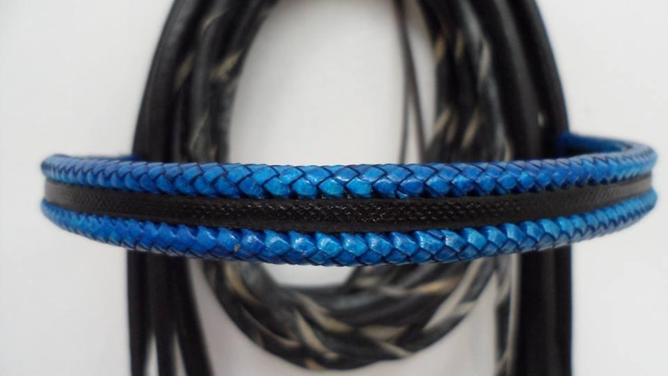 black and blue custom designer bridle