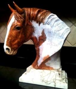 Pinto Warmblood Horse Hair Bust