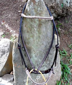 Beautiful, handmade bridle, braided round noseband and browband