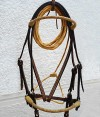 Beautiful, handmade bridle, braided round noseband and browband