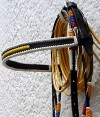 browband Paso Fino Show Bridle in the Colombian F lag Colors