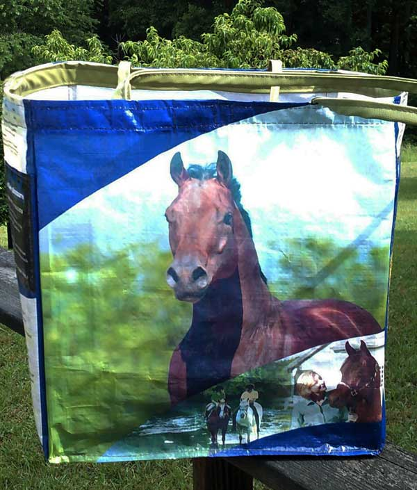 Small Recycled Horse Feed Carry Bag Blue Omolene